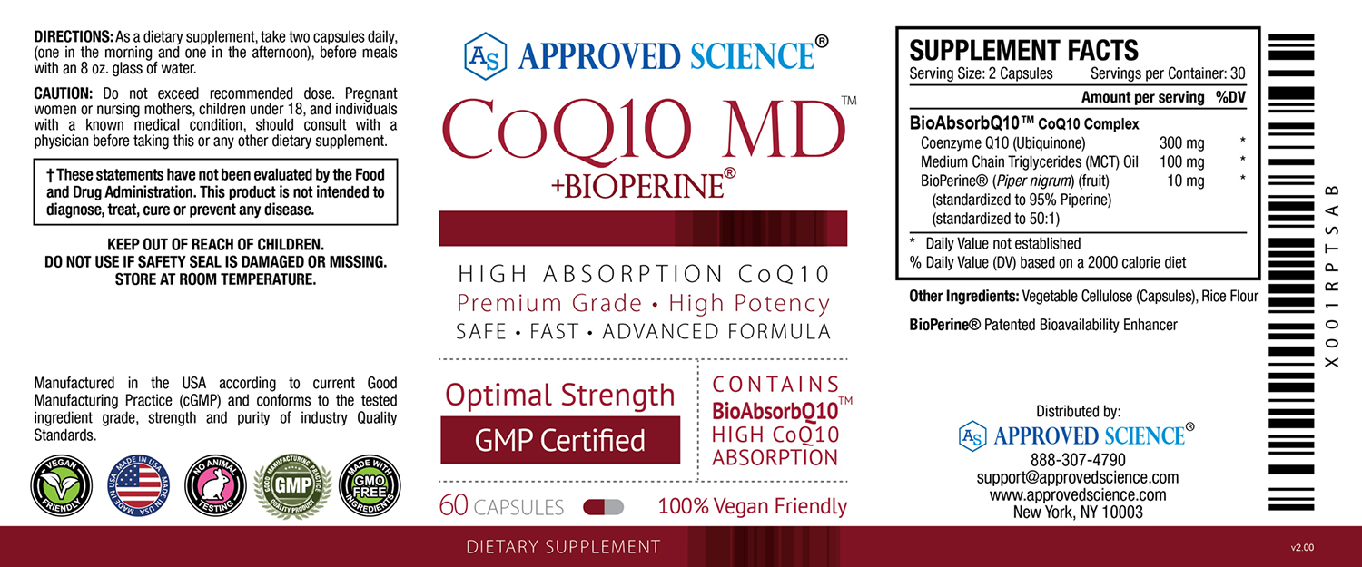 COQ10 MD Supplement Facts